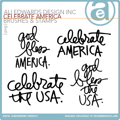 Celebrate America Word Art Freebie from Ali Edwards | aliedwards.com