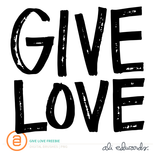 Give Love Free Digital Word Art