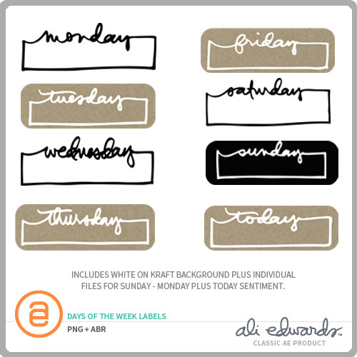 Ali Edwards Design Inc Days Of The Week Labels