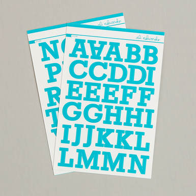 24486 teal alpha sticker set